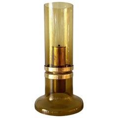 Amber Glass Hans Agne Jakobsson Oil Lamp Markaryd Sweden, 1950s