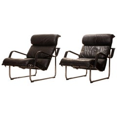 1970s, Set of Two Black Leather 'Remmie' Lounge Chairs, Yrjö Kukkapuro, Finland