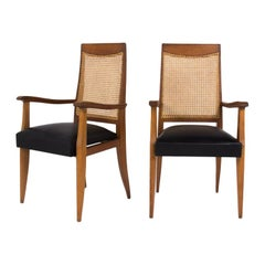 Armchairs in Solid Oak and Club Leather 1950 Set of 2 from France, Brown Colored
