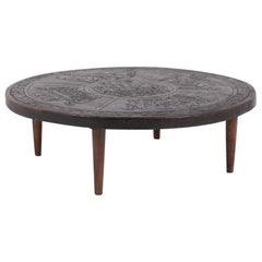 Angel I Pazimo Coffe Table, Teak and Leather, Meubles de Estilo 1960, Gray color