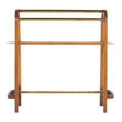 Console Table with Hat and Umbrella Racks in Oak and Brass, 1950