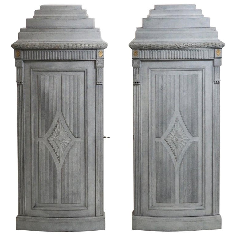 Pair of Rare Gustavian Style Corner Cabinets