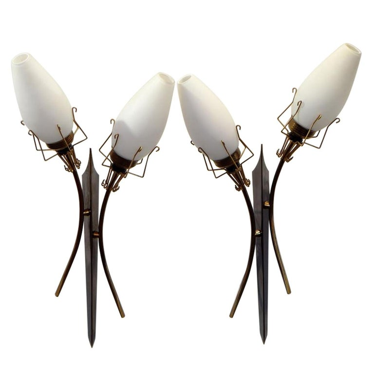 France, Pair of Two-Light Sconces, 1960s