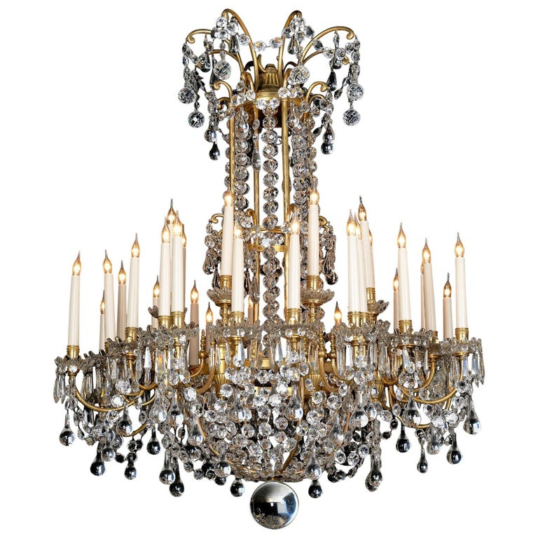 Louis XVI Style Cut-Glass Thirty-two-light Chandelier, circa 1890 For Sale