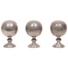 Antique Chinese Pewter Globe Tea Caddies, Set of 3