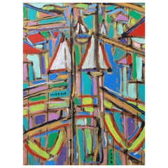 "Philippe Visson Painting ""Window on the Harbor"", 1994"