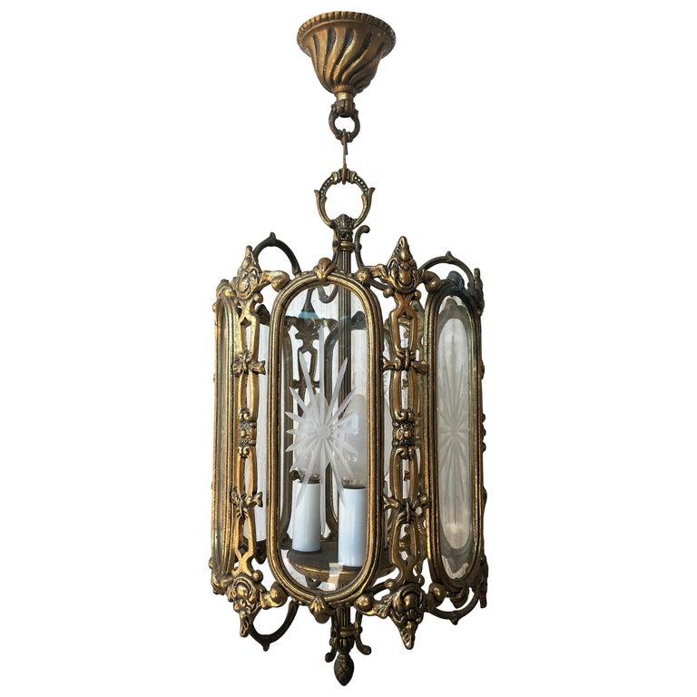 Large 19th Century Regency Style Bronze and Cut-Glass Lantern