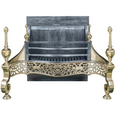 George III Style Iron and Brass Fire Grate