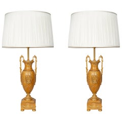 Pair of Late 19th Century Ochre Marble Table Lamps