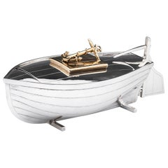 Silver Plate Novelty Boat Box with Gilded Interior, 20th Century