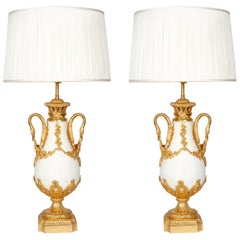 Pair of 19th Century French white Marble and Bronze Table Lamps