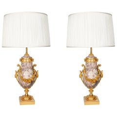 Pair of Late 19th Century Marble Blue John Style Marble Table Lamps