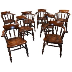 Large Set of Eight Mid-19th Century Smokers Bow Windsor Chairs or Office Chairs