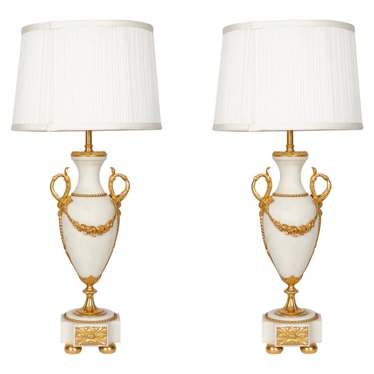 Pair of Late 19th Century White Marble and Gilded Bronze Table Lamps