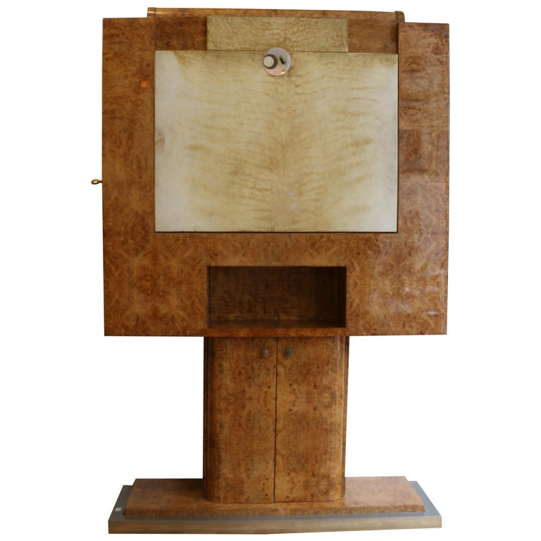Spectacular Modernist Bar by Jean Gouffé, circa 1935, Signed, Art Deco, France For Sale