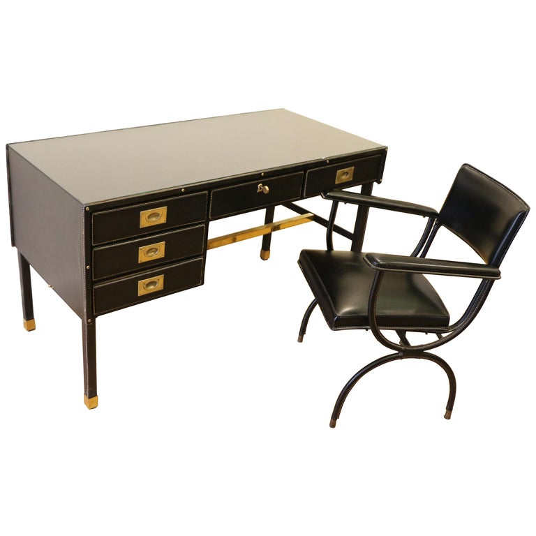 Rare Desk and Armchair by Jacques Adnet, Stitched Leather and Skaï, 1950s For Sale