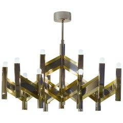 1970s Italian Chandelier Brass and Chrome Chevron Shape 15 Lights, by Sciolari