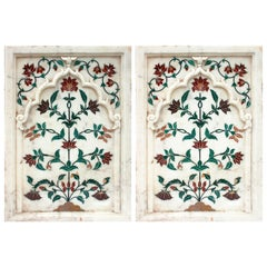 Pair of Hand-Carved Marble Wall Reliefs with Italian Pietre Dure Inlay Mosaic
