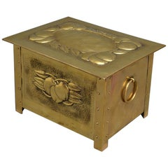 Fine Edwardian Brass Coal Scuttle / Log Box