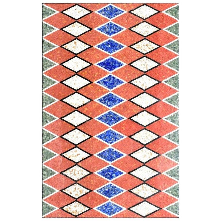 Handmade Rectangular Tabletop Rhombus Mosaic in Lapis Lazuli, Jade and Marbles