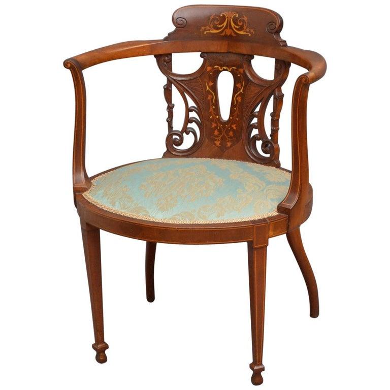 Edwardian Mahogany Occasional Chair