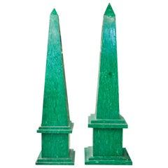 1990s Pair of Malachite Obelisks