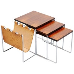 Modernist Rosewood Nesting Table Set Holland, 1960
