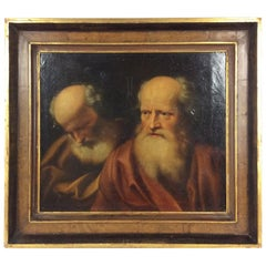 17th Century Old Master Painting Balthasar Denner Study of Two Philosophers