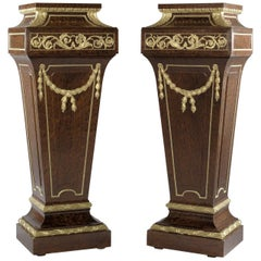 Pair of Louis XVI Style Mahogany Pedestals Attributed to Sormani, circa 1870