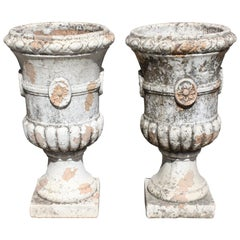 Pair of Classic French Terracotta Ribbon Urns