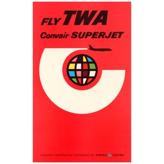 Original Vintage Air Travel Poster - Fly TWA Convair Superjet - General Electric