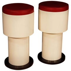20th Century Round White and Red Resine Italian Joe Colombo Style Pair of Stools
