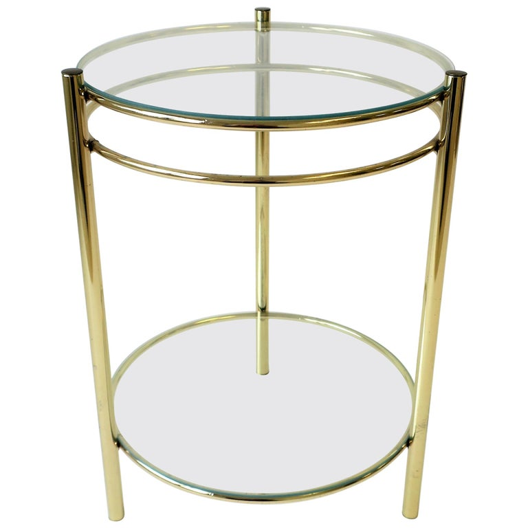 Small Round Br And Gl Side Or Drinks Table For