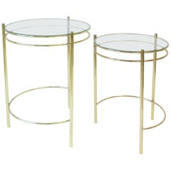 Set Round Brass and Glass Nesting End or Side Tables