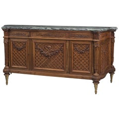 Louis XVI Style Carved Beech Side Cabinet with a Marble Top, circa 1870