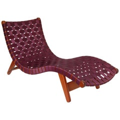 Alacrán Chaise in Mahogany and Burgundy Nylon Webbing in Stock