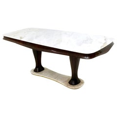 Wooden Dining Table with Portuguese Pink Marble Top and Base, Italy, 1950s