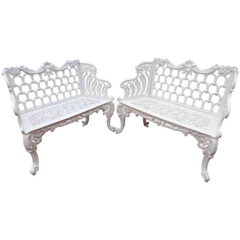Cast Iron Antique Gothic White House Garden Benches