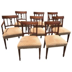 Baker Furniture Regency 20th Century Velvet Upholstered Dining Chairs