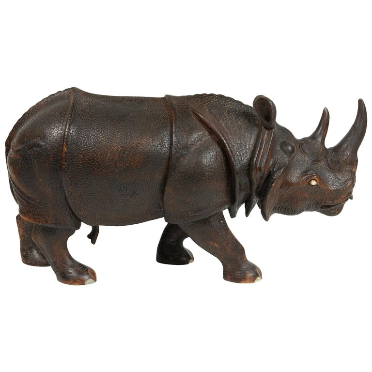Finely Carved Wood Indian Rhino Sculpture