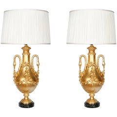 Pair of Gilt Covered Classic Baluster Lamps with Swan Neck Handles
