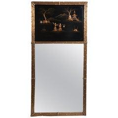 French Maison Jansen Chinoiserie Trumeau Mirror, Gilt Bamboo Border