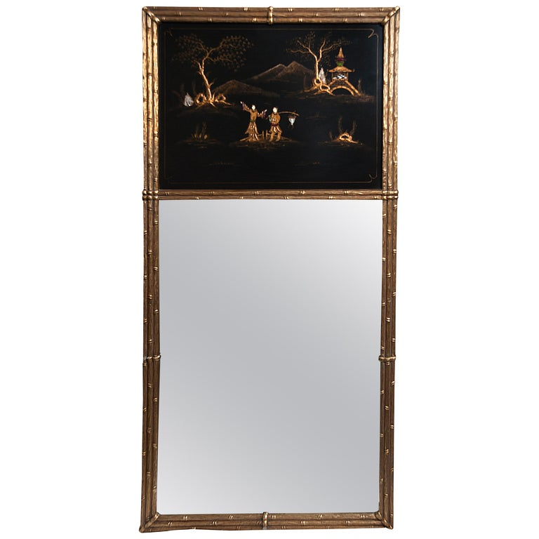 French Maison Jansen Chinoiserie Trumeau Mirror, Gilt Bamboo Border For Sale