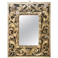 17th Century Italian Louis XIV Baroque Carved Giltwood Wall Mirror