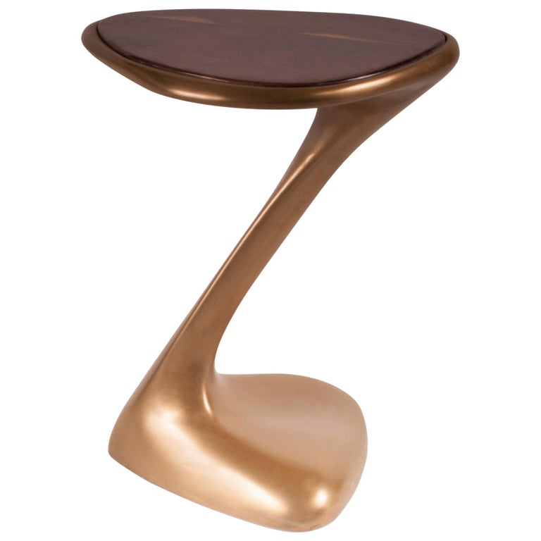 Palm Side Table, Gold Finish with High Glossy Walnut Top For Sale