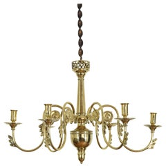 French Empire Cast Brass 6-Light Chandelier from the Early 19th Century