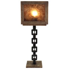 Italian Modernist Shagreen Table Lamp with Chain Link Leg