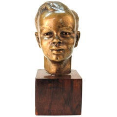 French Art Deco Bronze Bust of a Young Boy