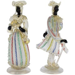 Pair of Vintage Murano Glass Blackamoor Lady and Gentleman Figurines