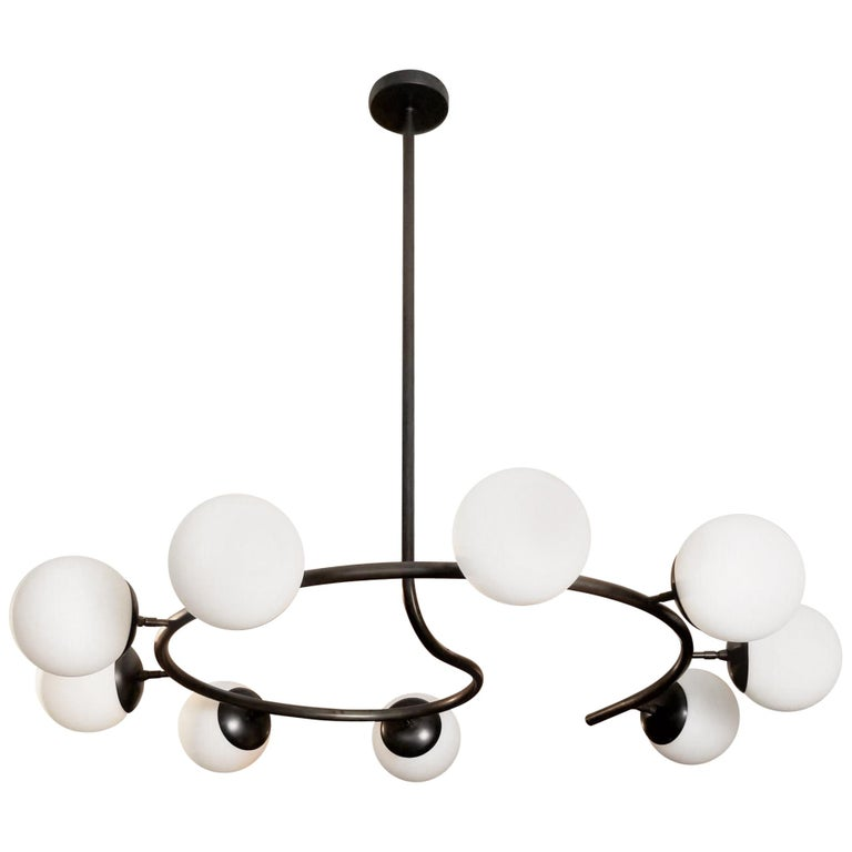 """Fibonacci 9"" Italian Modern Oil Rubbed Bronze Chandelier by Blueprint Lighting"